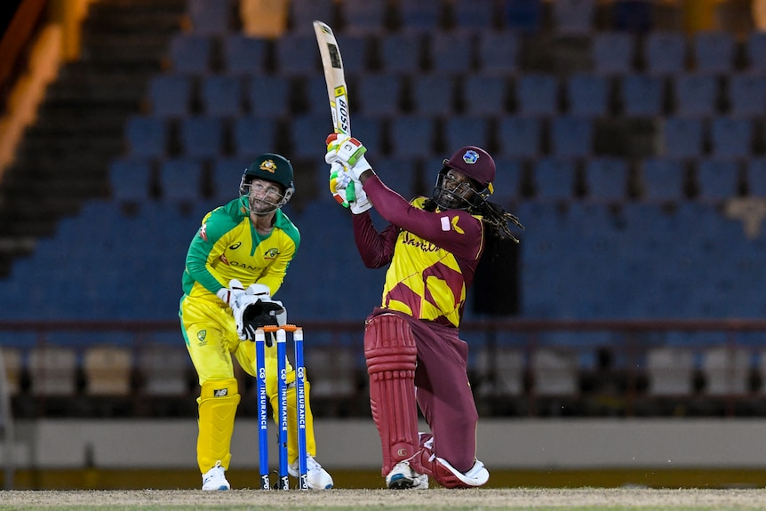 West Indies' Chris Gayle hoists the ball over mid-wicket for a big six against Australia in a T20 international.