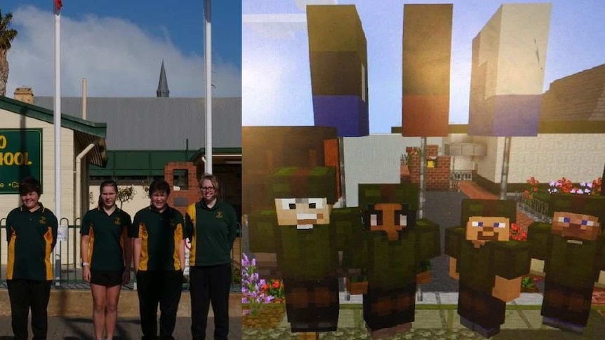 Two boys and two girls wearing green and yellow uniforms stand in front of their school in real life and in a virtual world.