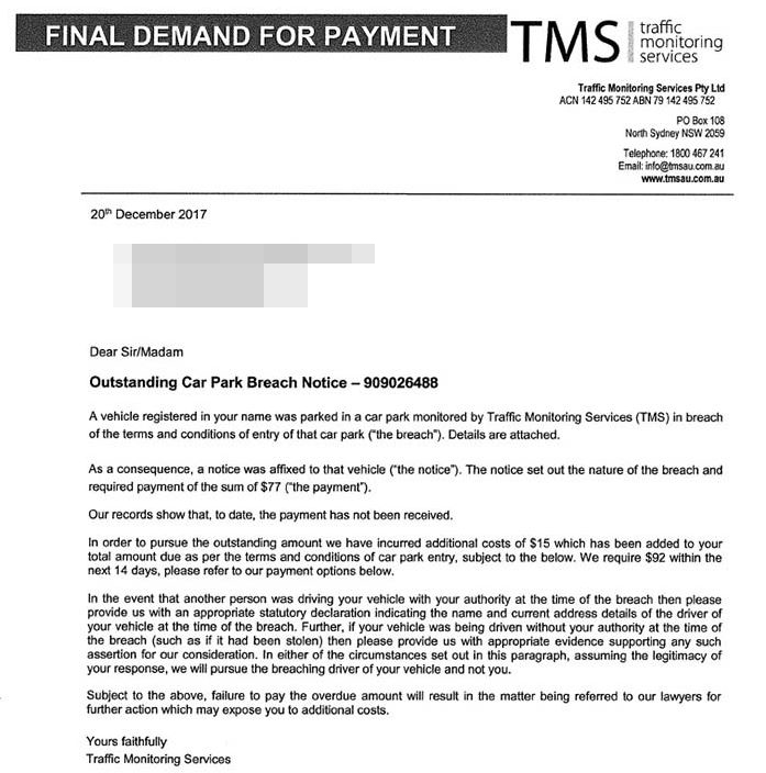 Follow-up letter sent by Traffic Monitoring Services to drivers who do not pay a parking fine straight away.