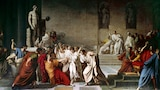 The painting by Vincenzo Camuccini depicting the assassination of Julius Caesar in the Roman Senate