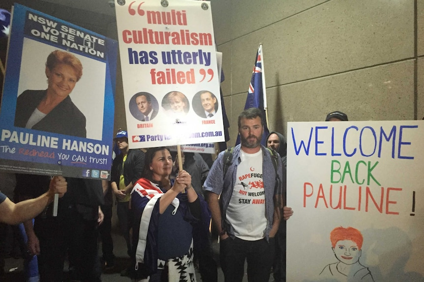 Nick Folkes and the protesters who have come out in support of Pauline Hanson.