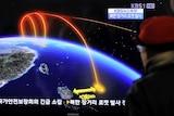Projected flight path of North Korea rocket