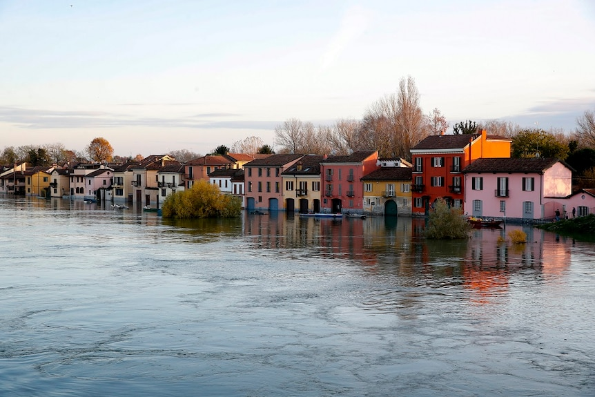 Houses flooded in Italy.