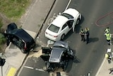 An aerial shot of a multi-car crash on Melbourne's Chandler Highway.