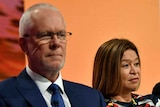 Michelle Guthrie (second from left) didn't always see eye to eye with ABC Chairman Justin Milne (left).