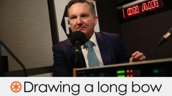 Chris Bowen in an ABC radio studio. Verdict: Drawing a long bow (orange asterisk)
