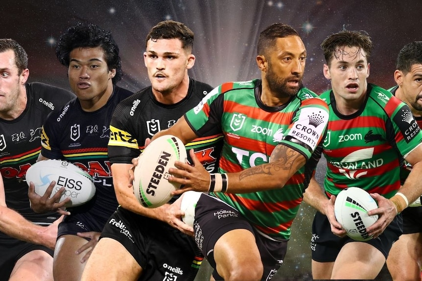 A montage of three Penrith and three Souths players