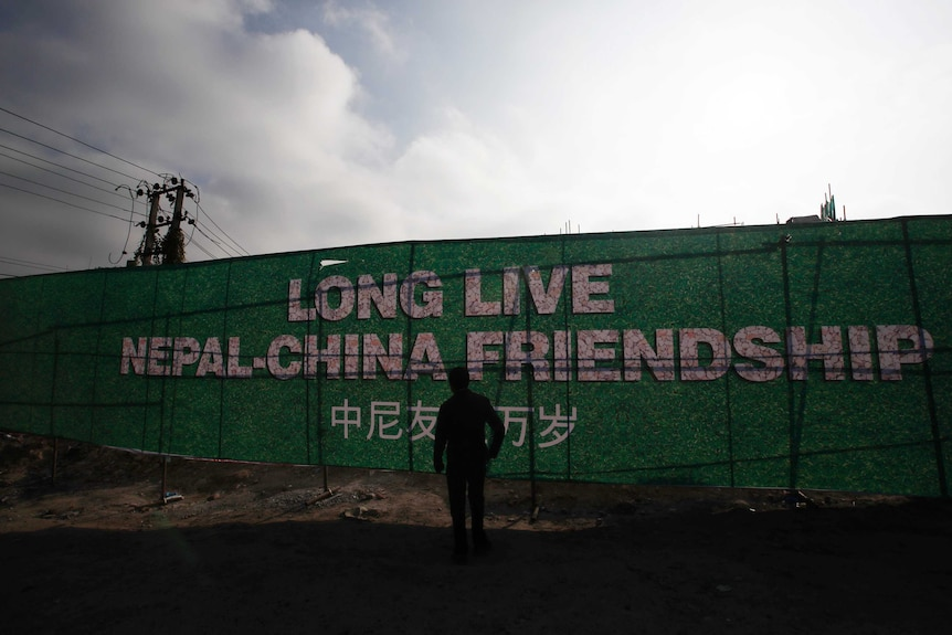 """Banner reads """"long live Nepal-China friendship"""""""