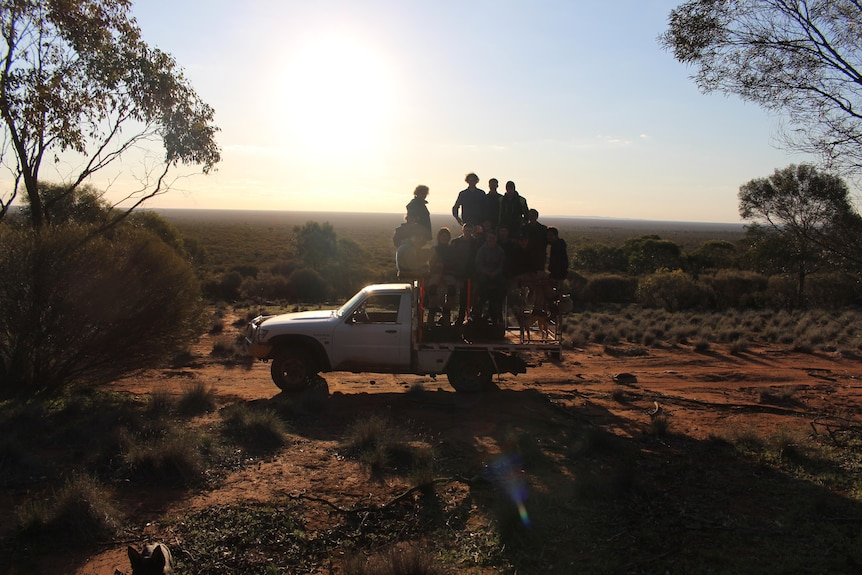 A white ute is parked in the bush with a group of teenage boys standing on the tray