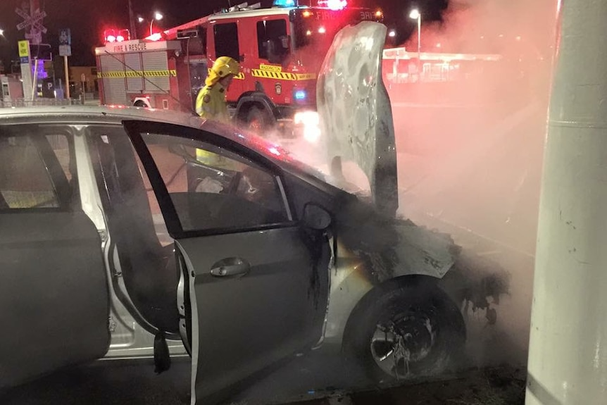 Burnt out Ford Fiesta
