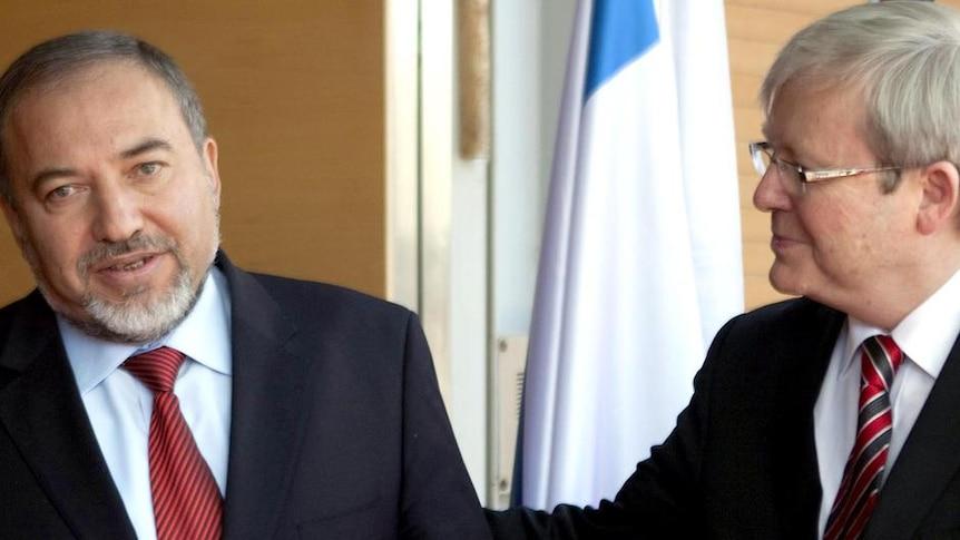 LtoR Israeli Foreign Minister Avigdor Liberman meets with Kevin Rudd in Jerusalem