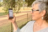 Amanda Salisbury looks at an iPhone with the COVIDSafe app displayed on the screen