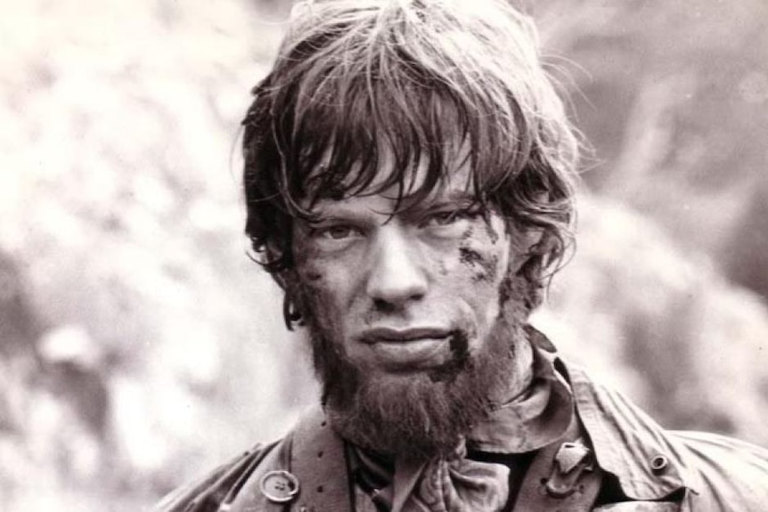 Mick Jagger's face as he stars in the 1970 Ned Kelly film.