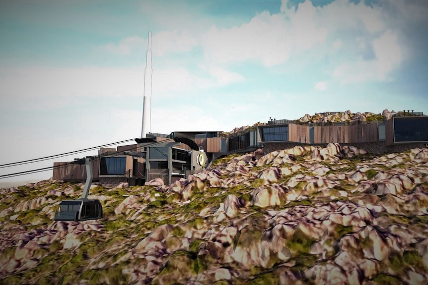 Artist's impression of a cable car development on a mountain.