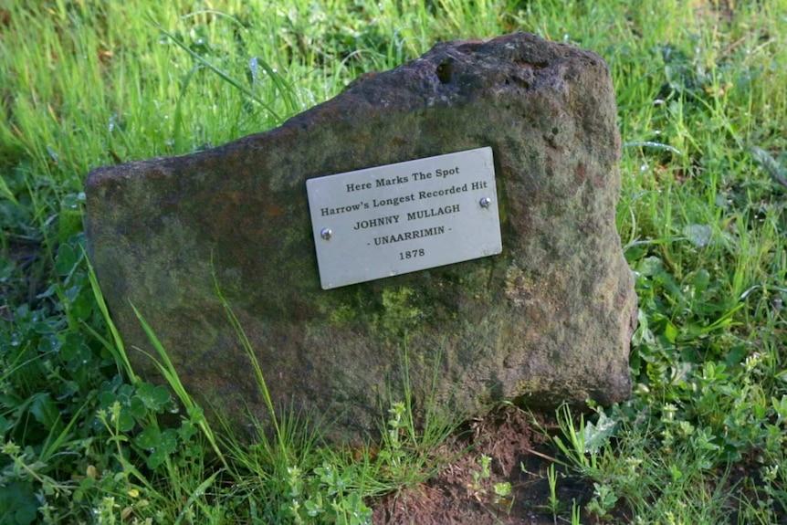 Harrow's longest recorded cricket hit marked by a rock.  Struck by Johnny Mullagh (Unaarrimin) in 1878
