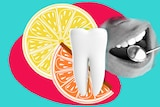 A collage of a tooth, lemon slice, orange wedge and mouth being inspected by a dentist for article about acidity in drinks
