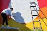 A woman spraying paint on a wall.