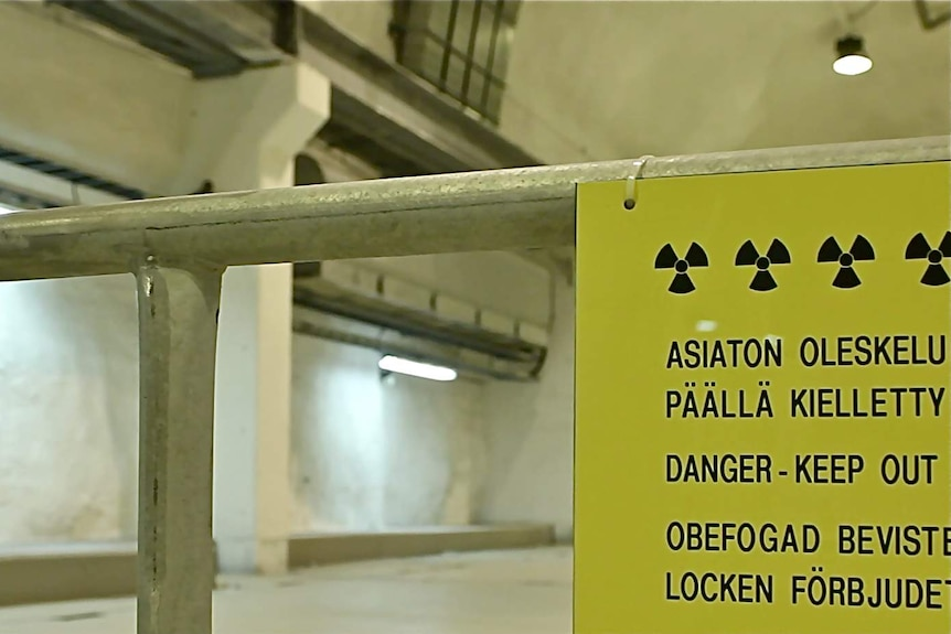 A warning sign at the Olkiluoto nuclear power plant.