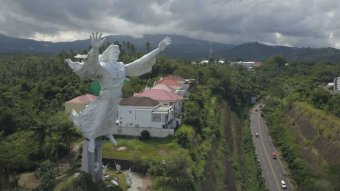 A large Jesus statue in eastern Indonesia.