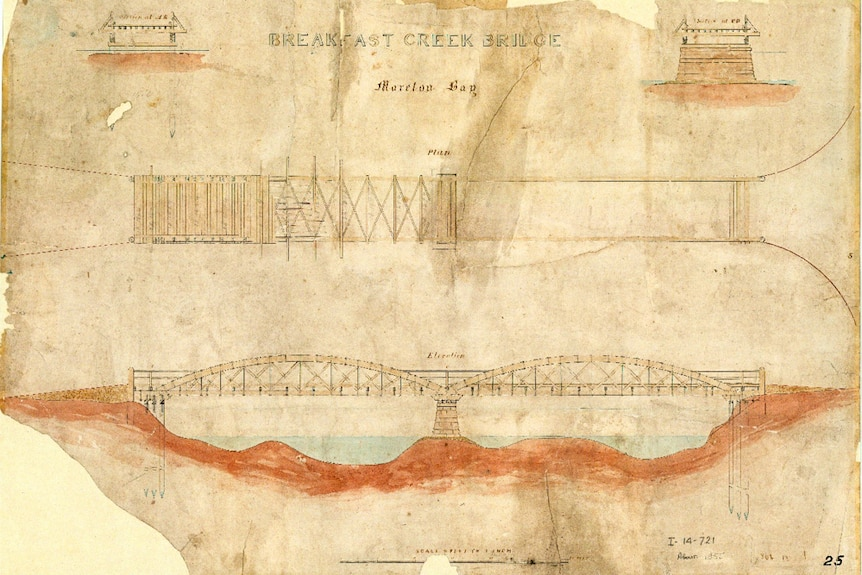 The oldest plans in the collection are of the Breakfast Creek Bridge, 1855.