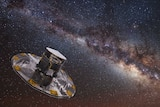 Artist's impression of Gaia satellite mapping stars of the Milky Way.