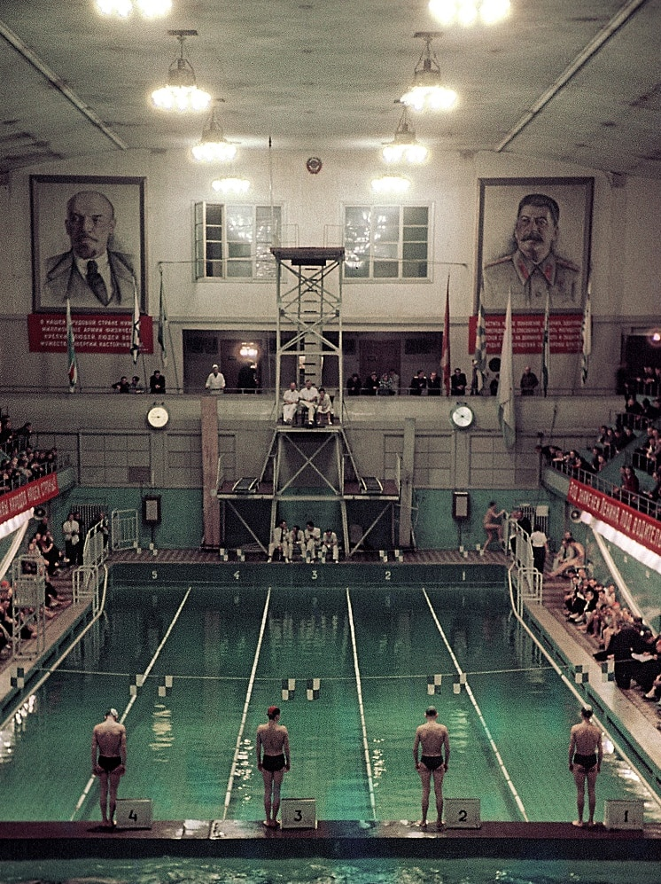 Swimmers compete at a USSR championship in 1952