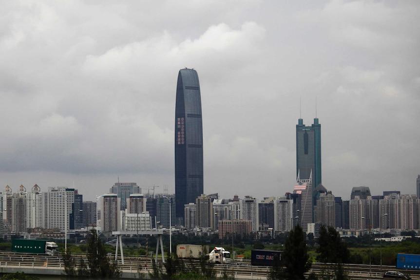 深圳的一般城市景观,包括100层的摩天大楼。