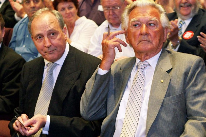 Paul Keating and Bob Hawke attend a speech by Kevin Rudd in 2007.