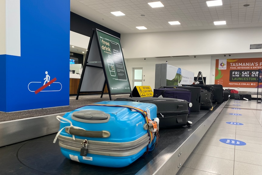 Bags on a carousel at Launceston Airport