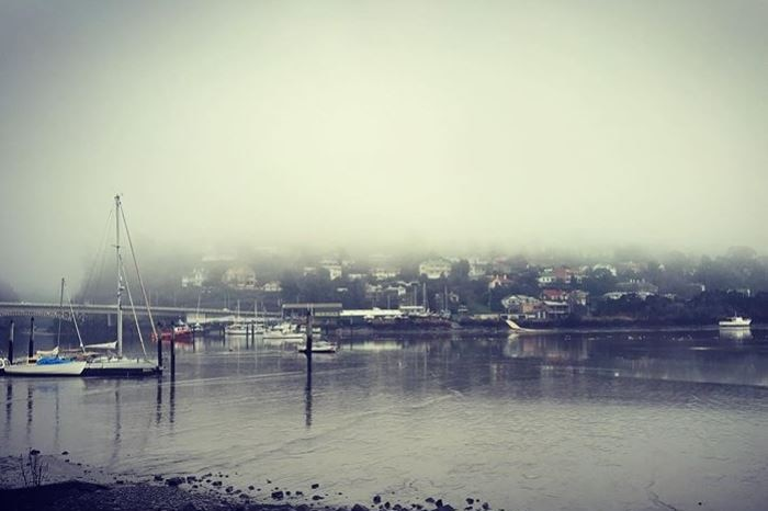 Fog over boats on the Tamar River.