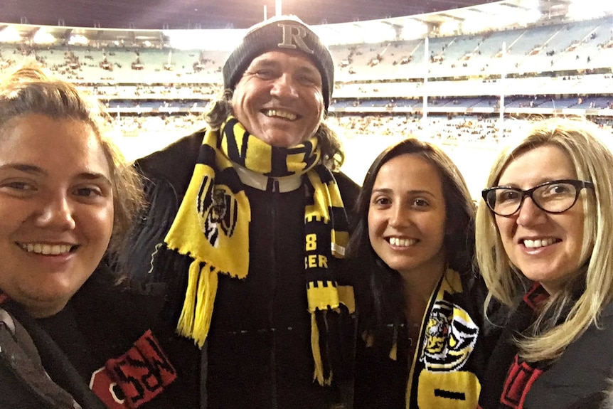 Jo Sumic with wife Laura and daughter Ines and Alana at the football.