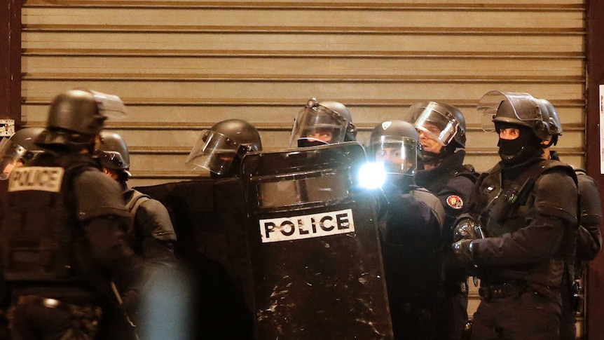 French special police forces secure the area in Saint-Denis