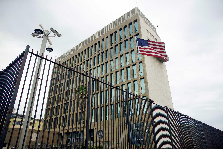 Exterior view of the US embassy in Havana.