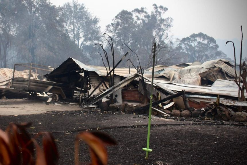 A home destroyed by a bushfire in Conjola Park on New Year's Eve last year.