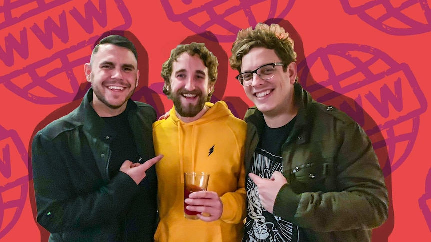 Jono Pech (right) with friends Jack and Tom for a guide to meeting your internet friends in real life.