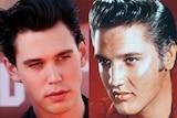 Actor Austin Butler alongside a young Elvis Presley