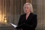 Newcastle born Miriam Allan singing as part of the four-person choir during Prince Philip's funeral. Saturday, April 17, 2021.