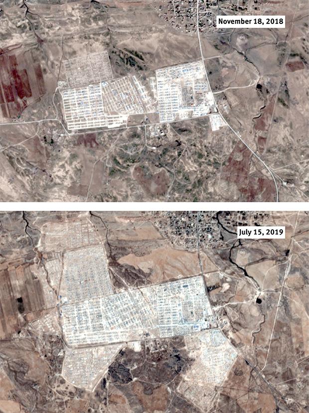 Aerials of al-Hawl camp.