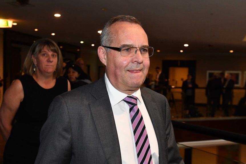 Mark Korda at a Channel Ten creditors' meeting at the Marriott Hotel in Sydney.