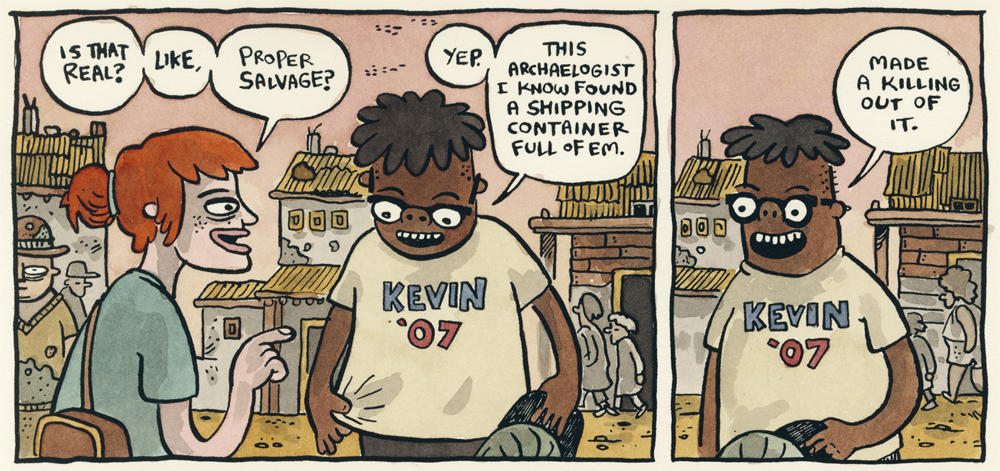 A cartoon strip shows two characters conversing, one is wearing a Kevin '07 shirt.