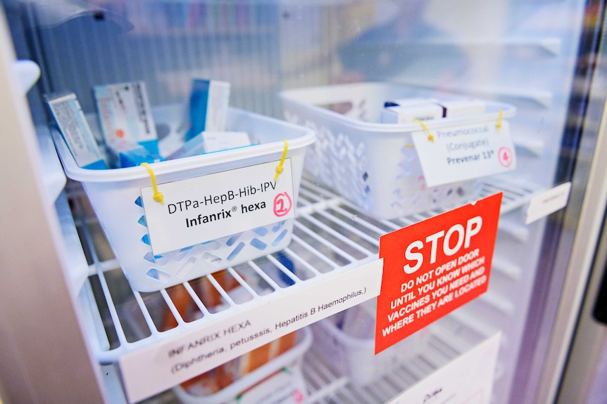 A close up shot of vaccines inside one of two fridges at Danila Dilba.