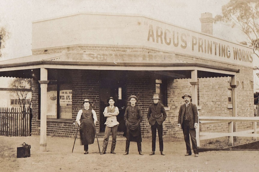 Owner of the then called Southern Argus, Ernest Absolon (far right), and staff in 1914.