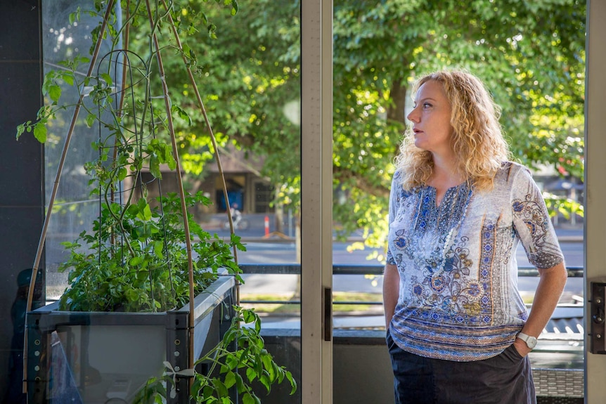 St Kilda Rd apartment owner Bronnie Walsh looking out a window.