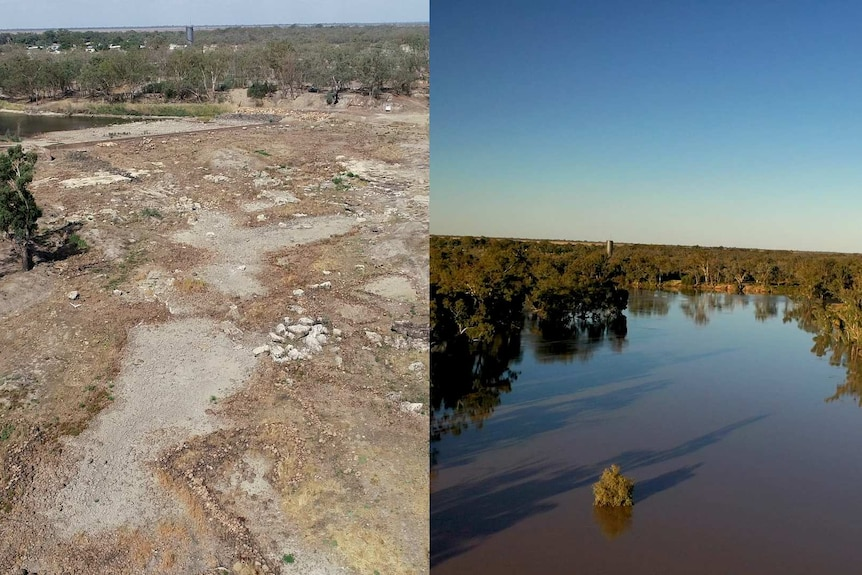 An aerial photo of the dry Barwon River and fish traps at Brewarrina in 2019 compared with a photo of it in flood in April 2021.