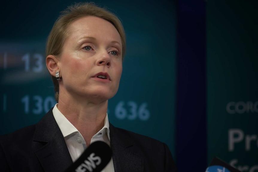 Tasmanian Health Minister Sarah Courtney, coronavirus press conference.