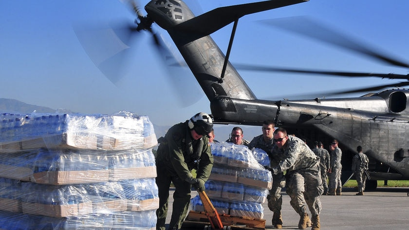 Delivery: the US military has been given priority at the Port-au-Prince airport