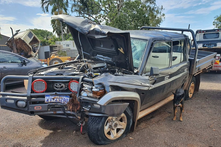 The wreckage of a brand-new Toyota Landcruiser ute.