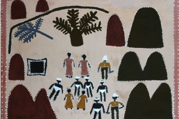 In the painting a group of figures can be seen, a hills and trees.