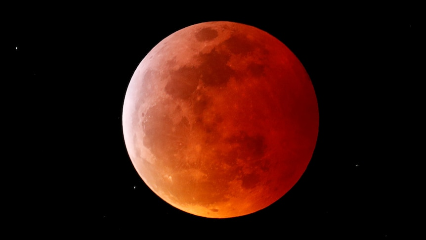 Clear, zoomed in image of the moon, with a reddish orange hue over it.