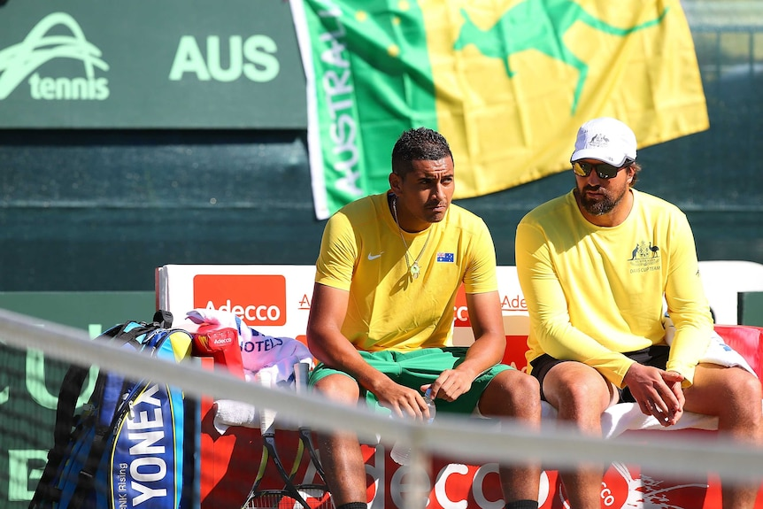 Nick Kyrgios and Pat Rafter during a Davis Cup match